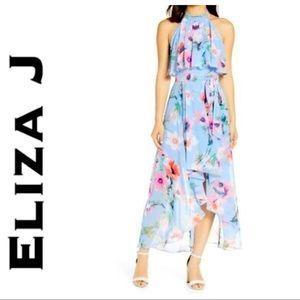 Eliza J Halter High Low Floral Midi Dress
